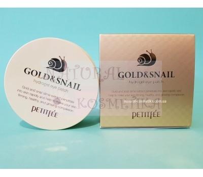 Гидрогелевые патчи с золотом и секретом улитки / Gold & Snail Eye Patch PETITFEE / 60 шт